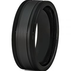 (Wholesale)Black Tungsten Carbide Double Groove Ring - TG371AA