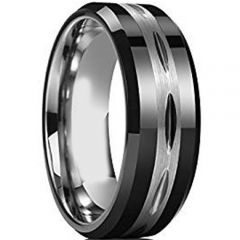 (Wholesale)Tungsten Carbide Center Groove Ring - TG3726AA