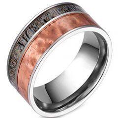 (Wholesale)Tungsten Carbide Deer Antler Camo Ring - TG3801