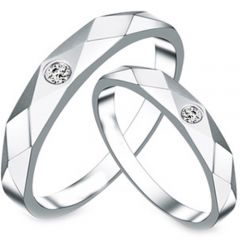 (Wholesale)Tungsten Carbide Faceted Ring With CZ - TG3803