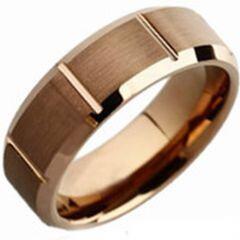 (Wholesale)Tungsten Carbide Espresso Vertical Groove Ring - TG38