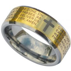 (Wholesale)Tungsten Carbide Cross Prayer Ring - TG3832