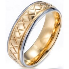 (Wholesale)Tungsten Carbide Step Edges Ring - TG3858