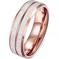 (Wholesale)Rose Tungsten Carbide Imitate Meteorite Ring - TG385A