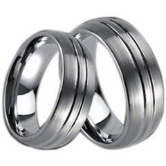(Wholesale)Tungsten Carbide Double Groove Ring - TG386