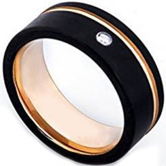 (Wholesale)Tungsten Carbide Black Rose Ring With CZ - TG3872AA