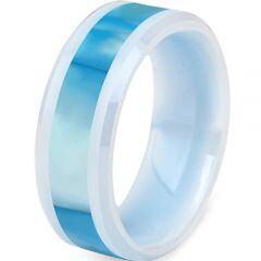 (Wholesale)White Ceramic Abalone Shell Ring - TG3881