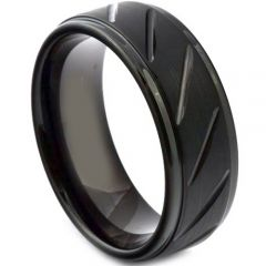 (Wholesale)Black Tungsten Carbide Diagonal Groove Ring - TG3904