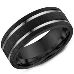 (Wholesale)Tungsten Carbide Double Groove Ring - TG3907