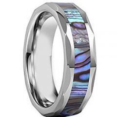 (Wholesale)Tungsten Carbide Faceted Abalone Shell Ring-3951AA