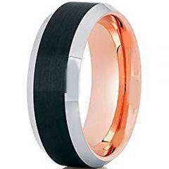 (Wholesale)Tungsten Carbide Black Rose Beveled Edges Ring-3959AA