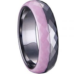 (Wholesale)Tungsten Carbide Ring With Pink Ceramic - TG3967