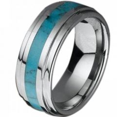 (Wholesale)Tungsten Carbide Imitate Turquoise Ring - TG3977