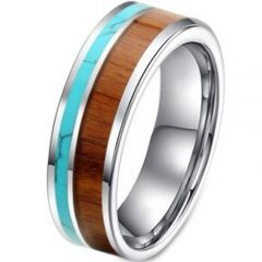 (Wholesale)Tungsten Carbide Wood Imitate Turquoise Ring-3988