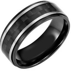 (Wholesale)Tungsten Carbide Ring With Carbon Fiber-TG4003