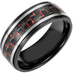 (Wholesale)Tungsten Carbide Ring With Carbon Fiber-TG4006