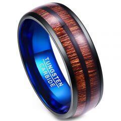 (Wholesale)Tungsten Carbide Black Blue Wood Ring - TG4009