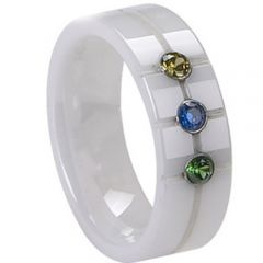 (Wholesale)White Ceramic Ring With Cubic Zirconia - TG4019