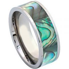 (Wholesale)Tungsten Carbide Abalone Shell Ring-4025