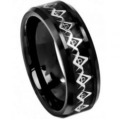 (Wholesale)Black Tungsten Carbide Masonic Inlays Ring-TG4027