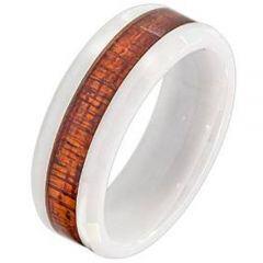 (Wholesale)White Ceramic Ring With Wood - TG4031