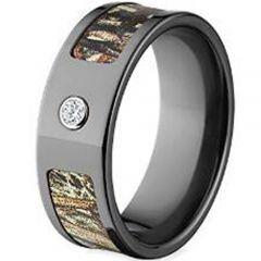 (Wholesale)Black Tungsten Carbide Camo Ring With CZ - TG4032