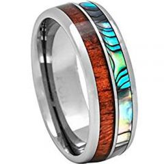 (Wholesale)Tungsten Carbide Wood Abalone Shell Ring-4035