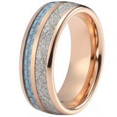 (Wholesale)Rose Tungsten Carbide Carbon Fiber Imitate Meteorite