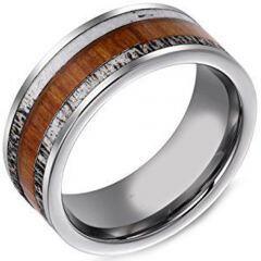 (Wholesale)Tungsten Carbide Deer Antler Imitate Meteorite Ring-TG4051