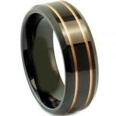 (Wholesale)Tungsten Carbide Black Gold Double Groove Ring-4063