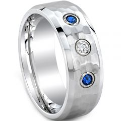 (Wholesale)Tungsten Carbide Hammered Ring With CZ - TG4084