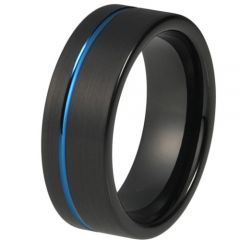 (Wholesale)Tungsten Carbide Black Blue Offset Groove Ring-4196AA