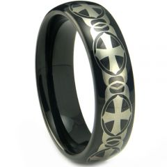 (Wholesale)Black Tungsten Carbide Cross Ring - TG4207