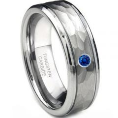 (Wholesale)Tungsten Carbide Hammered Ring With CZ - 4208