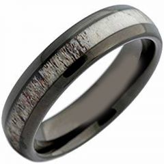 (Wholesale)Black Tungsten Carbide Deer Antler Ring - TG4215AA