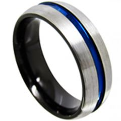 (Wholesale)Tungsten Carbide Black Blue Center Groove Ring-4422