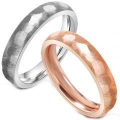 (Wholesale)Tungsten Carbide Hammered Ring - TG4438