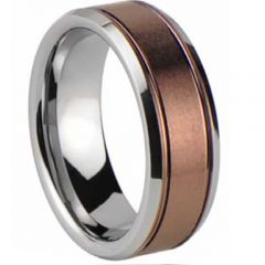 (Wholesale)Tungsten Carbide Double Groove Ring - TG4459