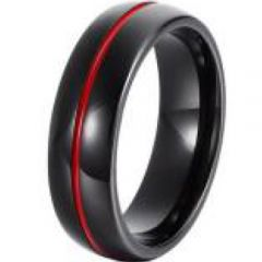 (Wholesale)Tungsten Carbide Black Red Center Groove Ring-4461
