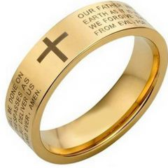 (Wholesale)Tungsten Carbide Cross Prayer Pipe Cut Ring - TG4463A