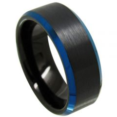 (Wholesale)Tungsten Carbide Black Blue Ring - TG4499