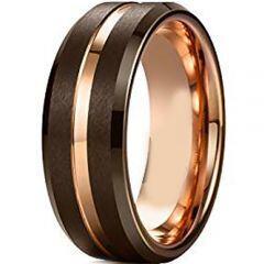 (Wholesale)Tungsten Carbide Espresso Rose Center Groove Ring-451