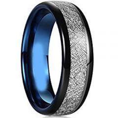 (Wholesale)Tungsten Carbide Black Blue Imitate Meteorite Ring-45
