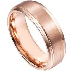 (Wholsale)Rose Tungsten Carbide Step Edges Ring-4557