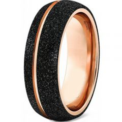 (Wholesale)Tungsten Carbide Black Rose Sandblasted Ring - TG4572