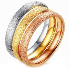 (Wholesale)Tungsten Carbide Silver/Gold/Rose Sandblasted Ring -