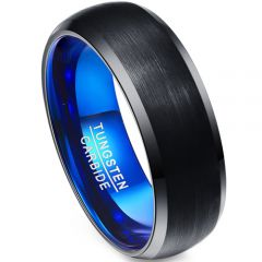 (Wholesale)Tungsten Carbide Black Blue Beveled Edges Ring-4591