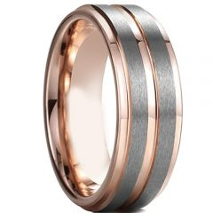 (Wholesale)Tungsten Carbide Center Groove Ring-4597