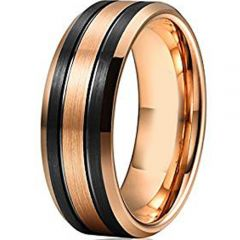 (Wholesale)Tungsten Carbide Black Rose Double Groove Ring-4604