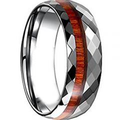(Wholesale)Tungsten Carbide Faceted Wood Ring - TG4646